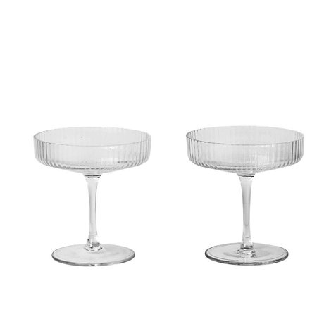 Ferm Living Champagne glass Ripple transparent glass set of two Ø10,5x11cm damage