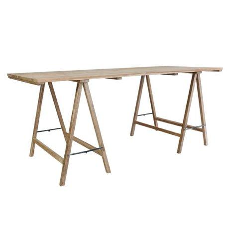 HK-living Schrafen table teck 180x80x76cm dommage