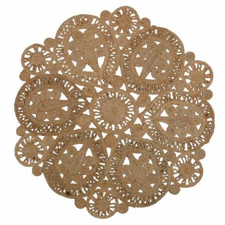 BePureHome Vloerkleed Coaster naturel bruin crochet 150cm