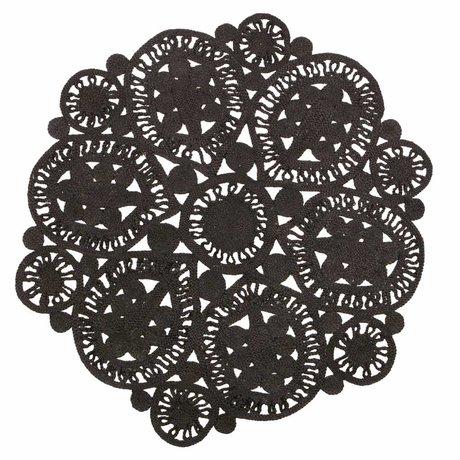 BePureHome Vloerkleed Coaster zwart crochet 150cm