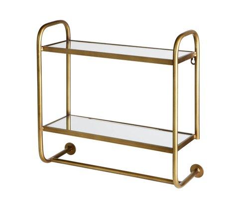 BePureHome Wandregal Gekleidet mit Spiegelplatten Antik Messing Gold Metall 44x45x17cm