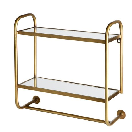 BePureHome Wall rack Dressed with mirror boards antique brass gold metal 44x45x17cm