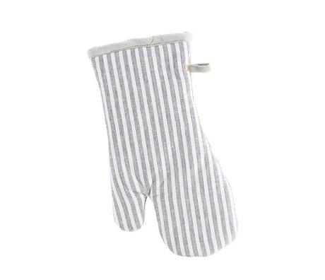 Housedoctor Ovenhandschoen Polly Stripe wit grijs katoen 32x18cm