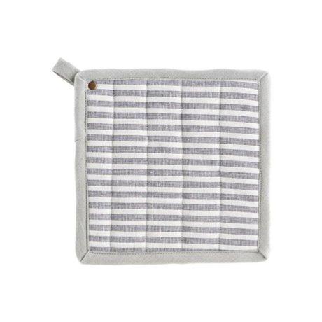 Housedoctor Pannenlappen Polly Stripe wit grijs katoen 21x21cm