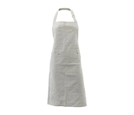 Housedoctor Cooking Apron Polly Stripe white gray cotton 90x84cm