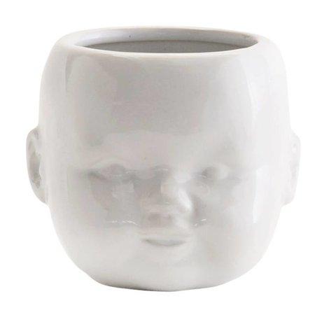 Madam Stoltz Bloempot Face wit porselein 9,6x9x7,5cm