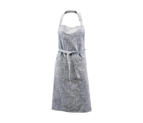 Housedoctor Tablier de cuisine Polly gris bleu coton 90x84cm