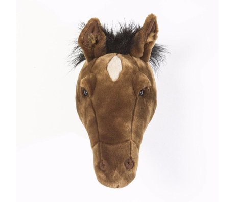 Wild and Soft Animal head horse Scarlet dark brown textile 33x20x32cm