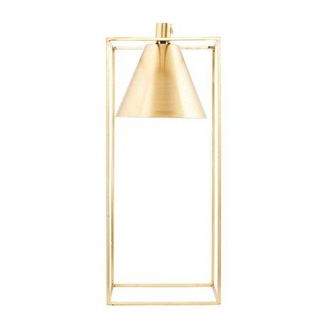 Housedoctor Housedoctor  Tafellamp KUBIX brass goud wit metaal 18x18x42cm