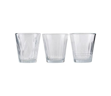 Housedoctor Glas vintage transparant glas set van 3 Ø7,5x8,5cm
