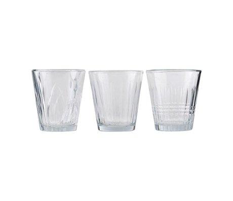 Housedoctor Glass vintage transparent glass set of 3 Ø7,5x8,5cm