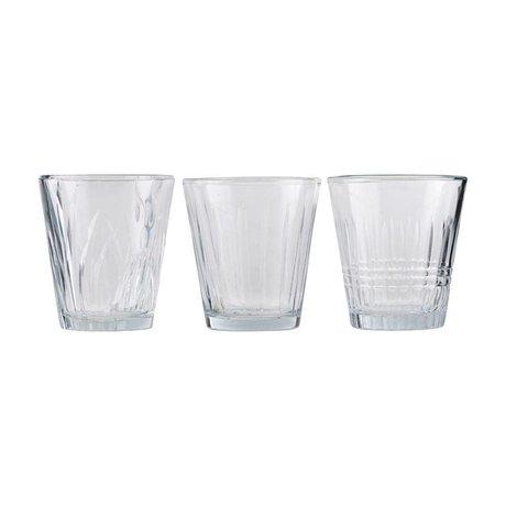 Housedoctor Glas vintage transparentes Glas 3er Set Ø7,5x8,5cm