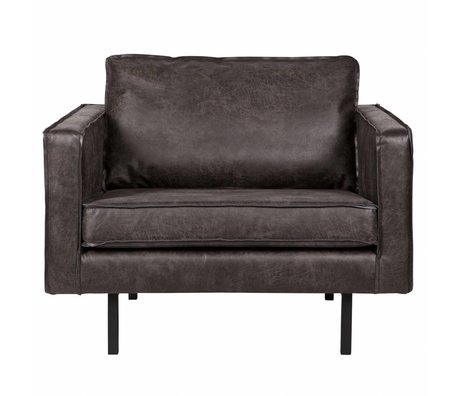 BePureHome Fauteuil rodéo cuir noir 105x86x85cm