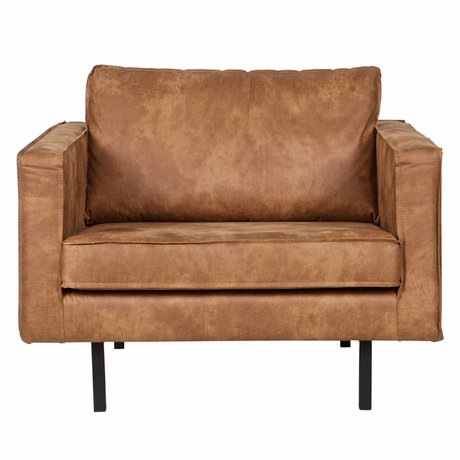 BePureHome Armchair Rodeo cognac brown leather 105x86x85cm