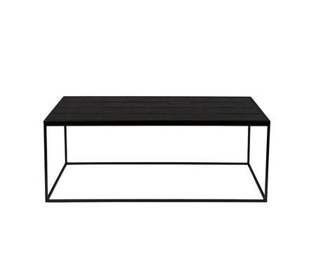 Zuiver Salontafel Glazed zwart keramiek metaal 99x48x42,5cm