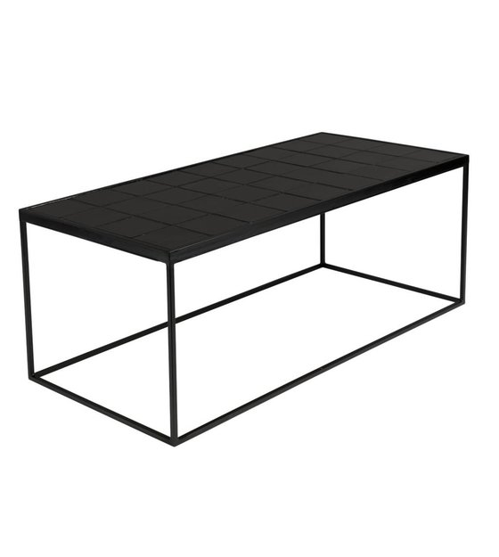 Zwarte Salon Tafel.Salontafel Glazed Zwart Keramiek Metaal 99x48x42 5cm