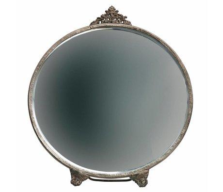 BePureHome Miroir Posh rond laiton antique métal doré 26x22x1cm