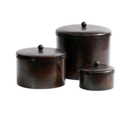 BePureHome Boîte de rangement Treasury en métal brun foncé lot de 3