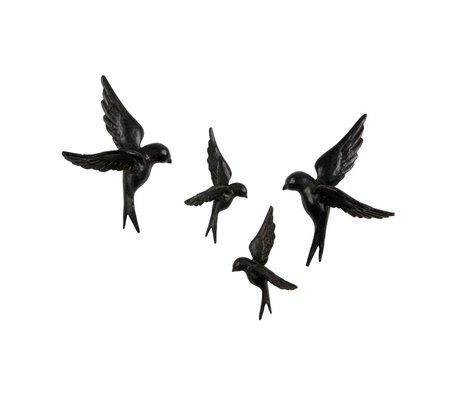 BePureHome Birds Avalaer black resin set of 4