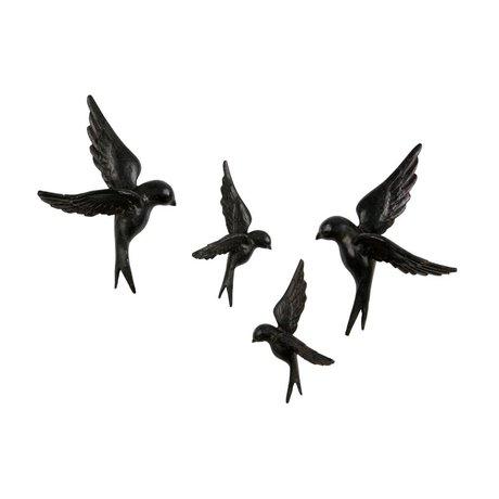 BePureHome 4 oiseaux en résine noire Avalaer