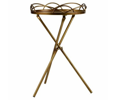 BePureHome Table d'appoint Filmy laiton antique métal doré 54x36x36cm