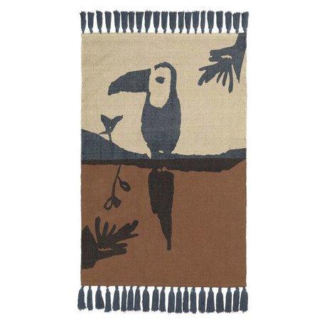 NOFRED Teppich Toucan braun Baumwolle 100x150cm