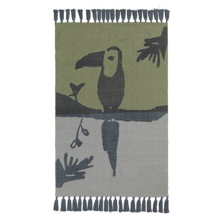 NOFRED Rug Toucan petroleum green blue cotton 100x150cm