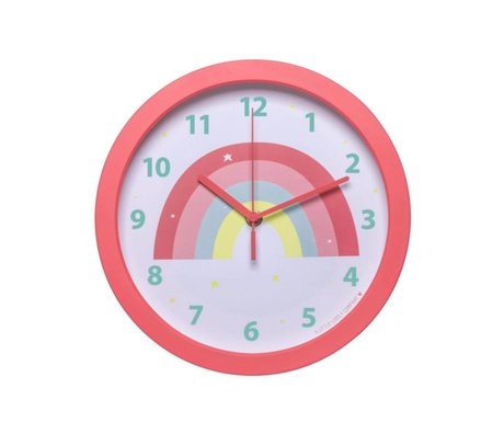 A Little Lovely Company Clock Rainbow pink plastic Ø25x4.2cm
