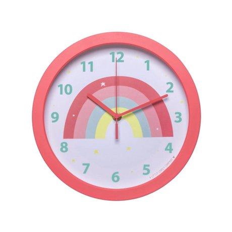 A Little Lovely Company Horloge Rainbow plastique rose Ø25x4.2cm