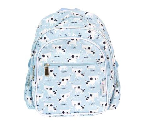 A Little Lovely Company Rugzak Dogs lichtblauw acryl 30x33x14,5cm