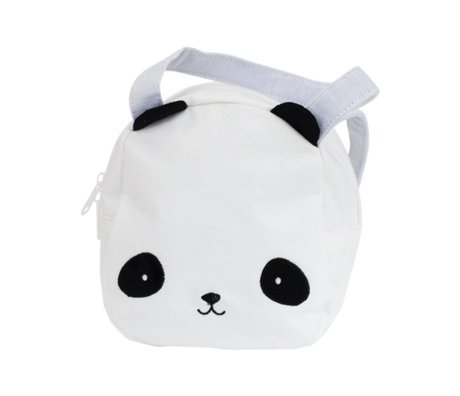 A Little Lovely Company Handtasje Panda wit zwart acryl 16x19x11,5cm
