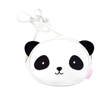 A Little Lovely Company Sac à bandoulière Panda blanc noir acrylique 15,5x18x5,7cm