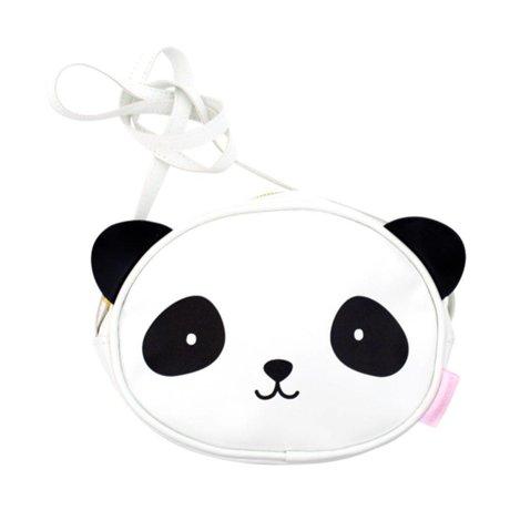 A Little Lovely Company Schoudertasje Panda wit zwart acryl 15,5x18x5,7cm
