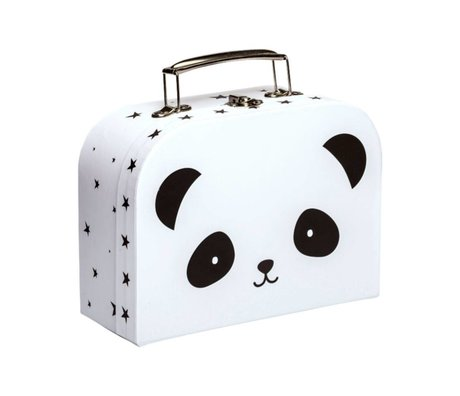 A Little Lovely Company Koffertje Panda wit zwart karton metaal 20x15x8,5cm