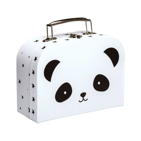A Little Lovely Company Small suitcase Panda white black cardboard metal 20x15x8,5cm