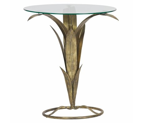 BePureHome Beistelltisch Tree Antik Messing Gold Metall Glas 70x60x62cm