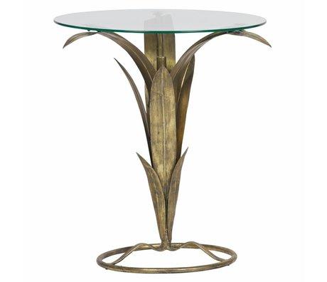 BePureHome Bijzettafel Tree antiek brass goud metaal glas 70x60x62cm