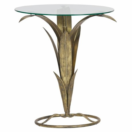 BePureHome Side table Tree antique brass gold metal glass 70x60x62cm