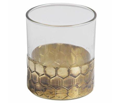 BePureHome Waxinelichthouder Wrap L goud metaal glas 10x9x9cm