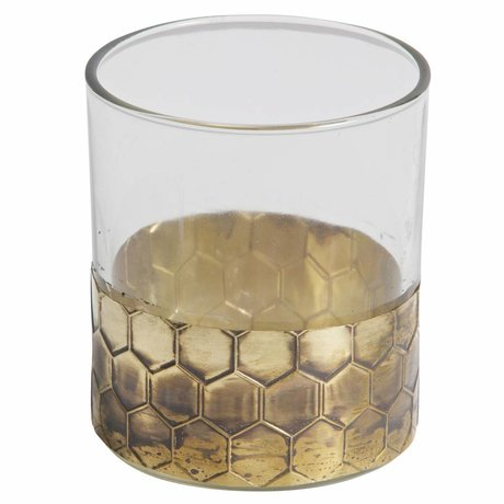 BePureHome Tealight holder Wrap L gold metal glass 10x9x9cm