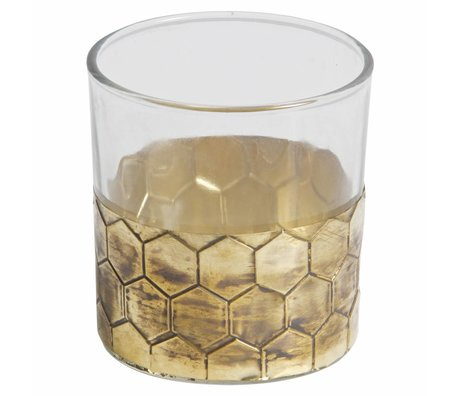BePureHome Teelichthalter Wrap M Gold Metall Glas 8x7,5x7,5cm