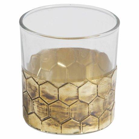 BePureHome Waxinelichthouder Wrap M goud metaal glas 8x7,5x7,5cm