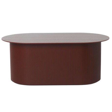 Ferm Living Table basse Podia en bois brun rouge 95x55x40cm