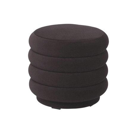 Ferm Living Pouf rond velours marron chocolat S Ø42x40cm