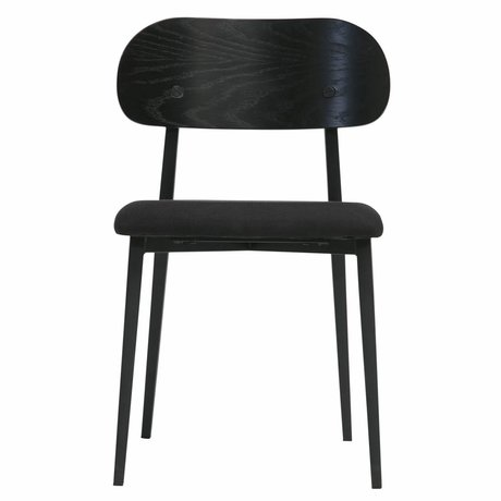 vtwonen Dining chair Class black wood textile set of 2