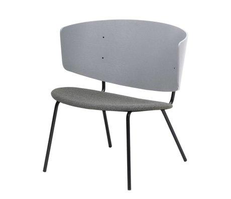 Ferm Living Loungestoel Herman gestoffeerd lichtgrijs hout metaal textiel 68x60x68cm