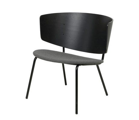 Ferm Living Lounge chair Herman upholstered black dark gray wood metal 68x60x68cm
