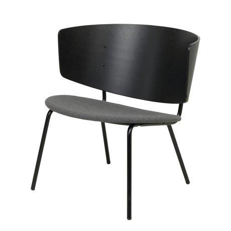 Ferm Living Loungestoel Herman gestoffeerd zwart donkergrijs hout metaal 68x60x68cm