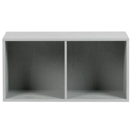 vtwonen Armoire pile 2 compartiments ouverts 81x35x41cm en béton de bois gris
