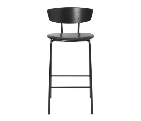 Ferm Living Tabouret de bar Herman Low en cuir noir bois métal 39,5x39,5x83,5cm
